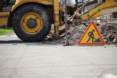 Road is under construction sign Royalty Free Stock Image