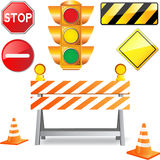 Road under construction. Signs isolated on white Stock Images