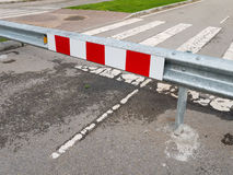 Road under construction striped sign Stock Image