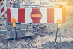 Road under construction with warning signs 3 Stock Photo