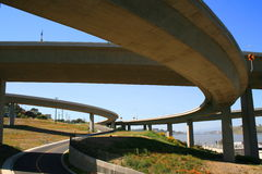 Road Under the Freeway Ramps Stock Photos