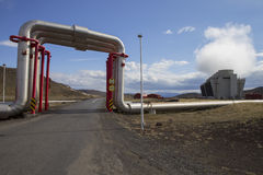 Road under Krafla geothermal power station's pipes Stock Images