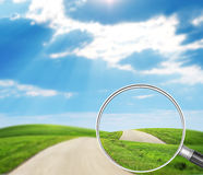 Road under loupe Royalty Free Stock Images