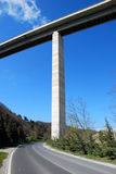 Road under a motorway. Motorway bridge over road, Liguria, Italy Stock Images