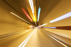 Road in an underground tunnel. Stock Photos