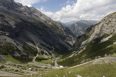 Road up from Bormio to Passo Stelvio Royalty Free Stock Image