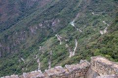 The Road Up to the Inca Ruins at Machu Picchu. The windy road going up to the Inca ruins at Machu Picchu, Peru stock photography
