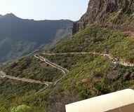 Road up to mediterrane mountains. View over small mountainroad royalty free stock images