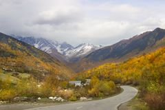The road in Upper Svaneti, Georgia. The landscape of Svaneti is dominated by mountains that are separated by deep gorges Royalty Free Stock Image