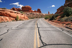 Road in the USA, Arches National Park near Moab Stock Image