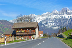 Road in the valley in Switzerland Royalty Free Stock Image