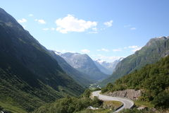 Road in valley. Twisted road in norway valley Stock Image