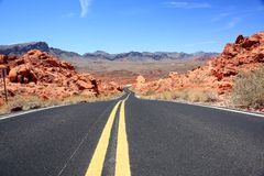 Road through Valley Of Fire, Nevada Royalty Free Stock Photography