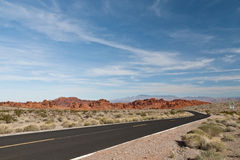A road  into Valley of Fire State Park. Royalty Free Stock Images