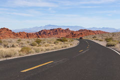 A road  into Valley of Fire State Park. Royalty Free Stock Photos