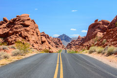 Road in Valley of Fire State Park Nevada, USA Royalty Free Stock Photo