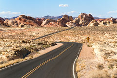 Road through Valley of Fire State Park Royalty Free Stock Images