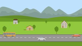 Road in the valley. Flat cartoon panoramic loop animation background 4K. Road in the valley. Cars are driving along the road. Flat cartoon panoramic loop stock video footage