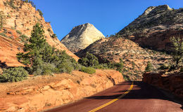 Road through the valley in Zion Canyon Stock Images