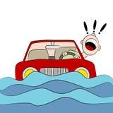 Road van bestuurderstrapped on flooded Royalty-vrije Stock Foto's