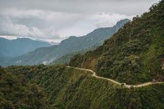 Road van het Noordenyungas in Bolivië royalty-vrije stock fotografie