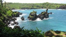 Road van Maui aan Hana Ocean Stock Afbeelding
