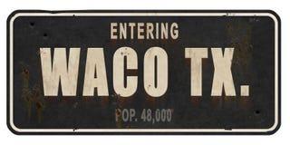 Road van Wacotexas street sign vintage grunge Weg stock afbeeldingen