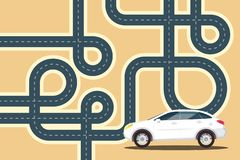 Road Graphic Design with Car. Road Vector Graphic Design with Car stock illustration