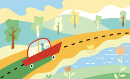 Road. vector illustration. Road landscape. cartoon vector illustration Stock Photo