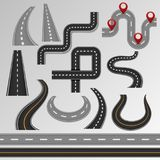 Road vector roadway and highway on map with route path illustration set of roadside or crossroad in pathway isolated on. Background Stock Image