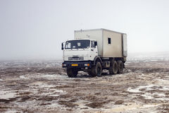 Road vehicle. In the steppes of southern Kazakhstan Stock Photos