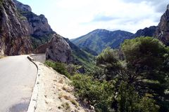 Road by the Verdon Gorge Royalty Free Stock Photography