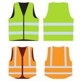 Road vest for safe work. Front and back side. Road vest for safe work. Safety clothing with reflective stripes. Vector illustration. Front and back side. Orange Stock Image