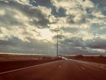 Road view during car trip in France Europe royalty free stock images