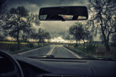 Road view through car window Stock Photography