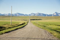 Road view. Drive road with windmaill background Stock Photography