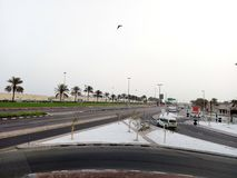Road view. Early in morning with palm tree royalty free stock photos