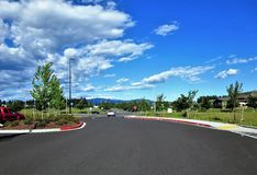 Road view. Empty road view on a sunny day royalty free stock photos