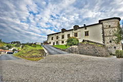 Road view in Espelette village of French Basque country Royalty Free Stock Images
