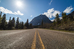 Road view at Glacier National Park in Montana Stock Photography