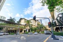 Road view beside Greenbelt Shopping Mall taken in Esperanza St,. MAKATI, MANILA, PHILIPPINES - JAN 31, 2018 : Road view beside Greenbelt Shopping Mall taken in royalty free stock photo