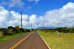 Road view on Hawaii. Driving Down Countryside Scenic Road Royalty Free Stock Photography