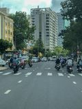 Road view with traffic in city Ho Chi Minh in Vietnam stock photography