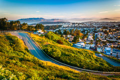 Road and view from Twin Peaks, in San Francisco  Stock Photos