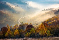 Road through the village in foggy valley. Gorgeous autumn scenery in Carpathian mountains. beautiful nature background Royalty Free Stock Photography