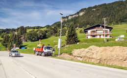 Road in a village in the French Alps Stock Images