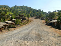 The road through the village in the mountains of Ethiopia. Afric Stock Image