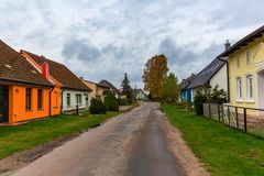 Road through the village Warthe, Usedom. Road through the village Warthe at the Lieper Winkel, Usedom, Germany Stock Image