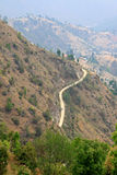 Road and villages on mountains in Dhulikhel Royalty Free Stock Photo