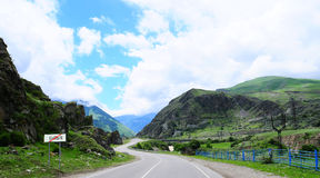 Road. Through the villages to the Elbrus mountain Stock Image
